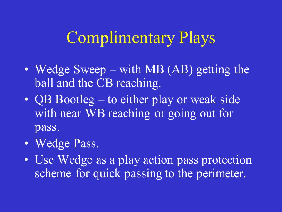 Complimentary Plays Wedge Sweep – with MB (AB) getting the ball and the CB reaching.