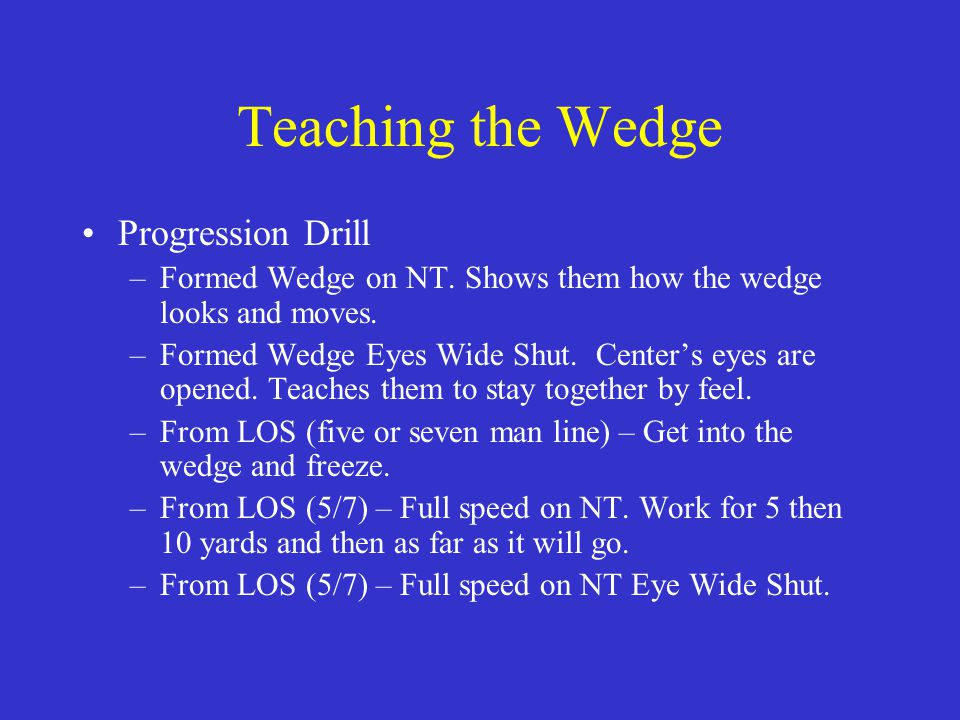 Teaching the Wedge Progression Drill