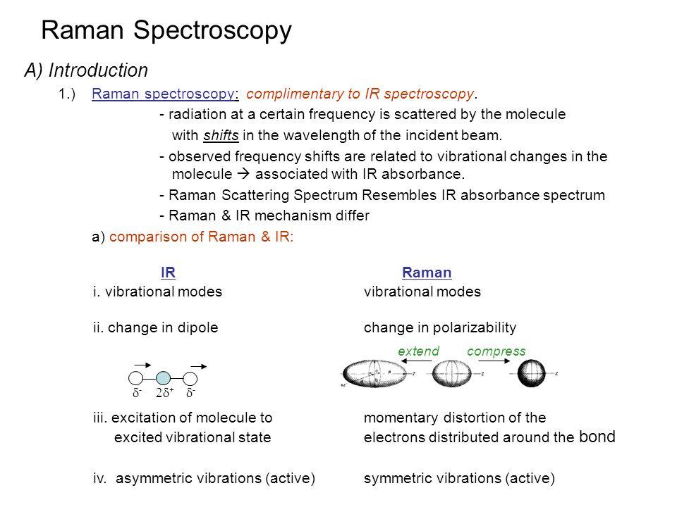 Raman Spectroscopy A) Introduction IR Raman