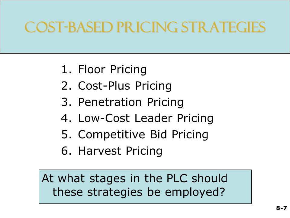 Cost-Based Pricing Strategies