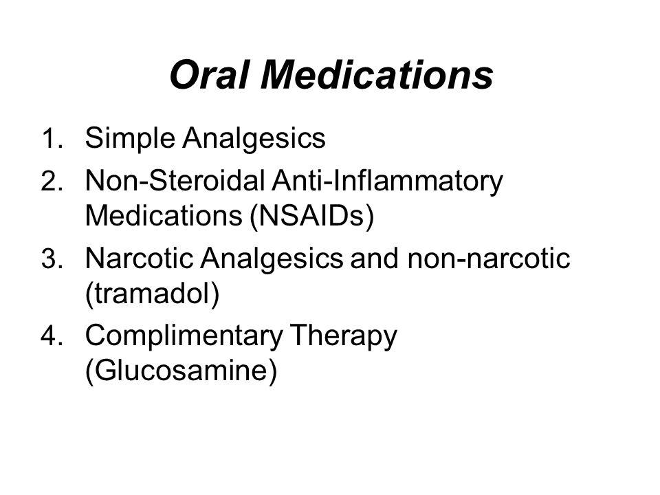 Oral Medications Simple Analgesics