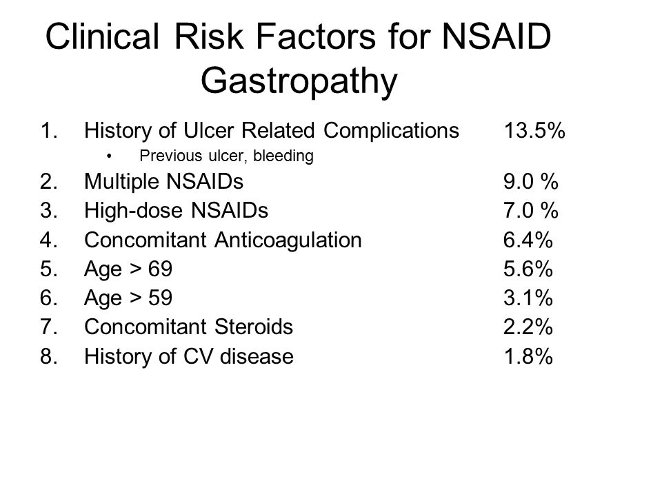 Clinical Risk Factors for NSAID Gastropathy