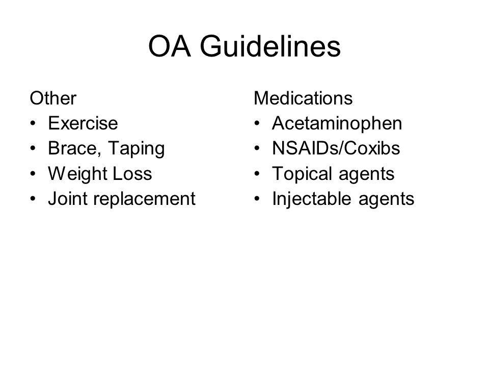 OA Guidelines Other Exercise Brace, Taping Weight Loss