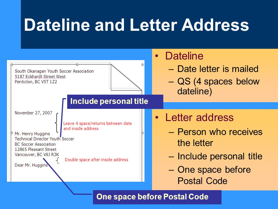Dateline and Letter Address