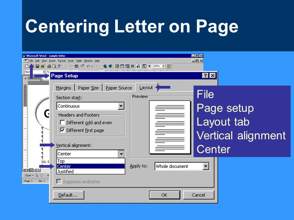 Centering Letter on Page