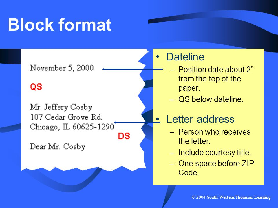 Block format Dateline Letter address