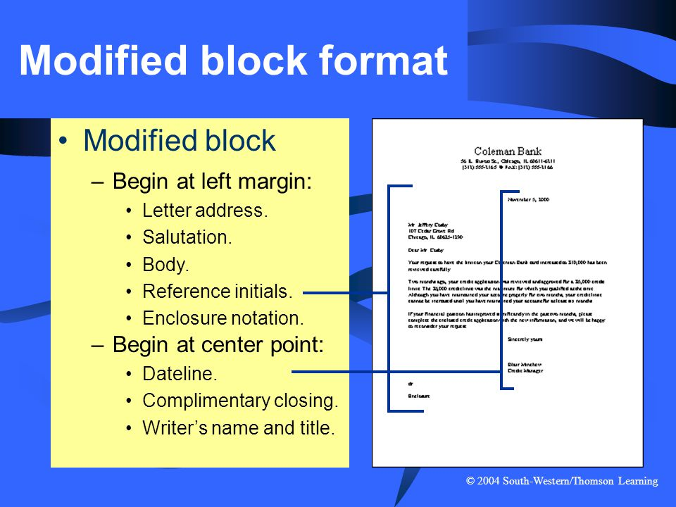 Modified block format Modified block Begin at left margin: