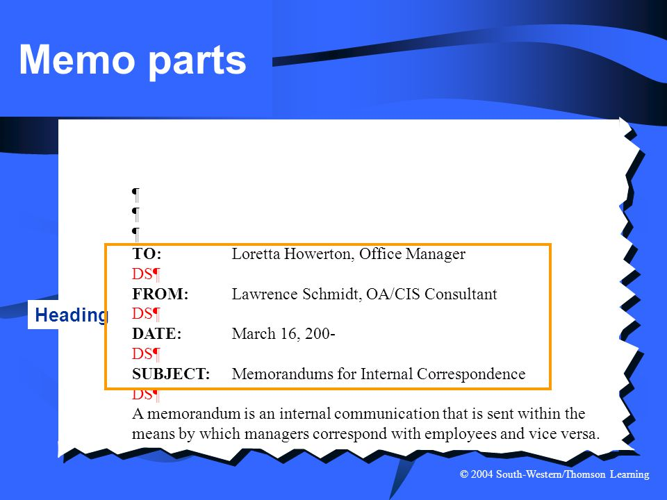 Memo parts Heading ¶ TO: Loretta Howerton, Office Manager DS¶