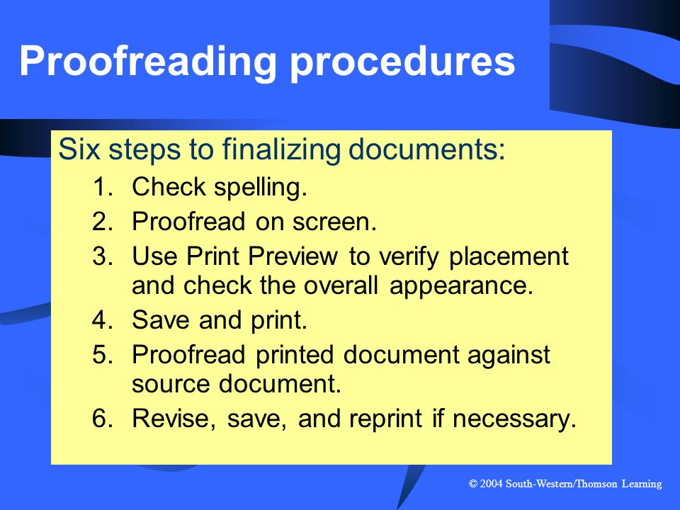 Proofreading procedures