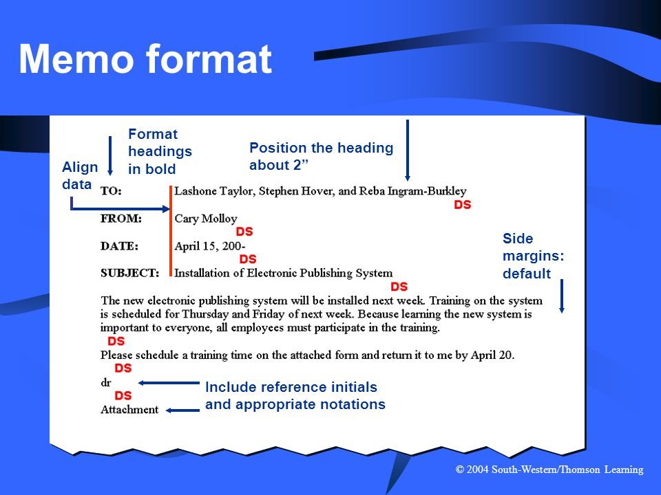 Memo format Format headings in bold Position the heading about 2