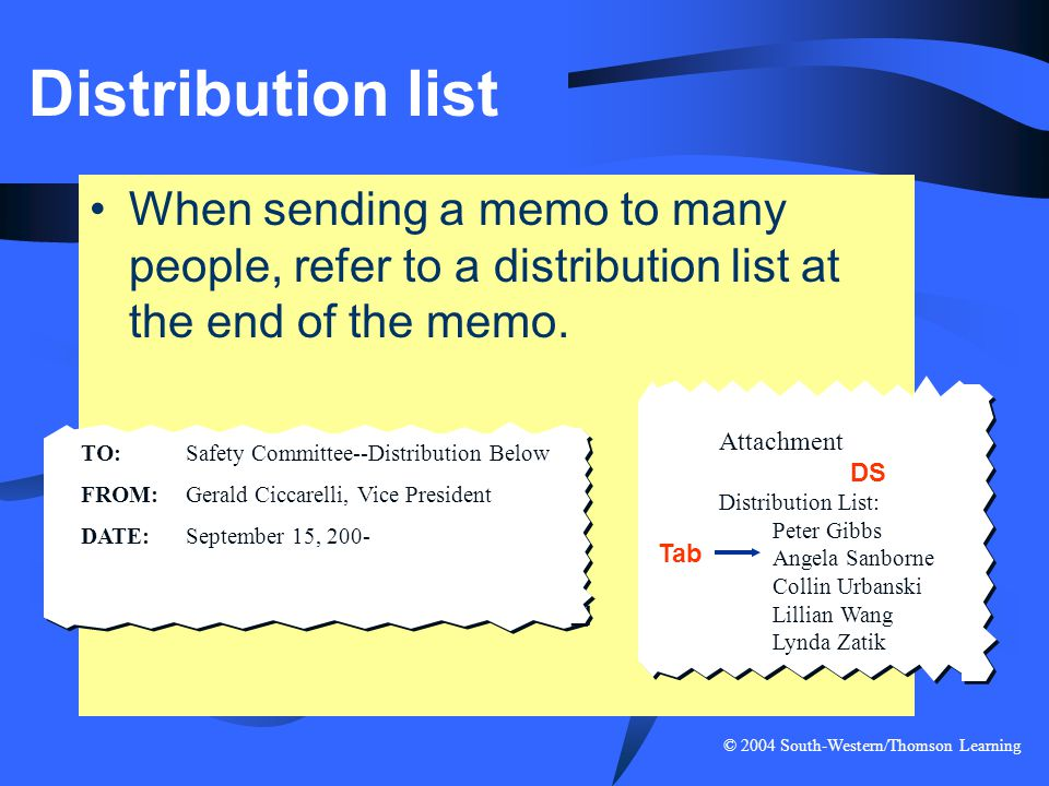 Distribution list When sending a memo to many people, refer to a distribution list at the end of the memo.