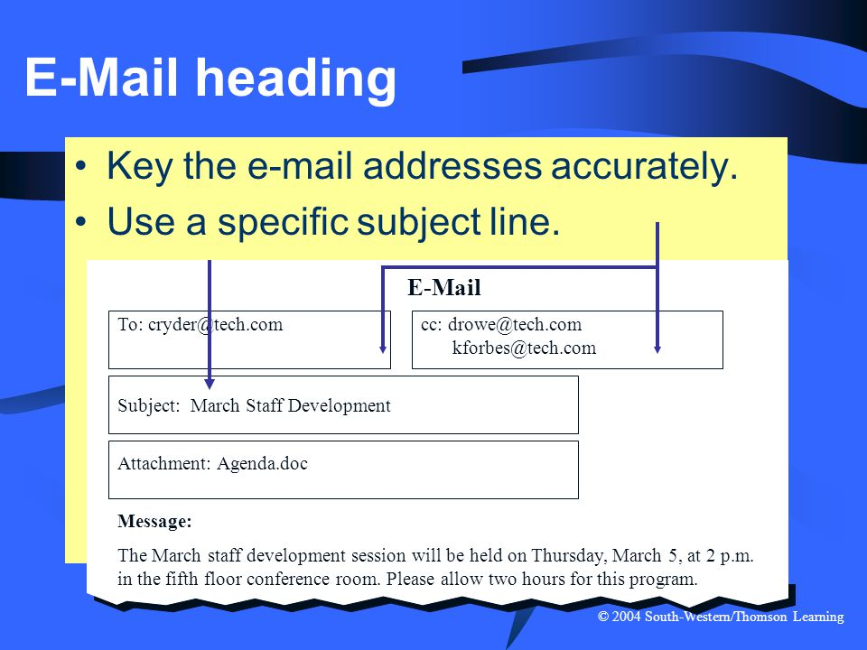 E-Mail heading Key the e-mail addresses accurately.