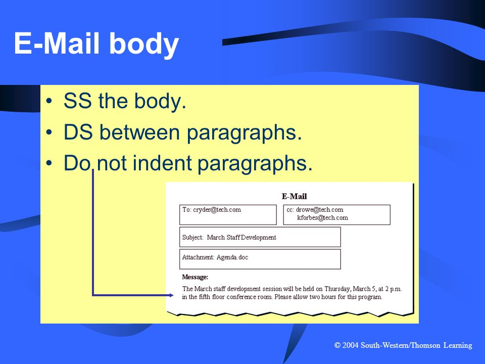 E-Mail body SS the body. DS between paragraphs.