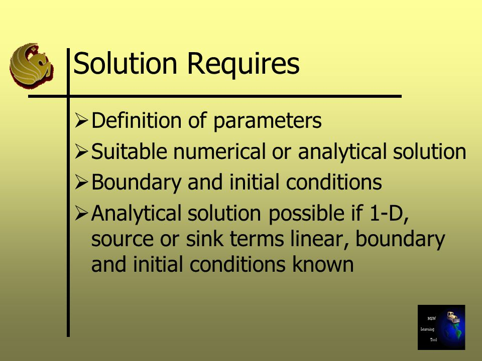 Solution Requires Definition of parameters