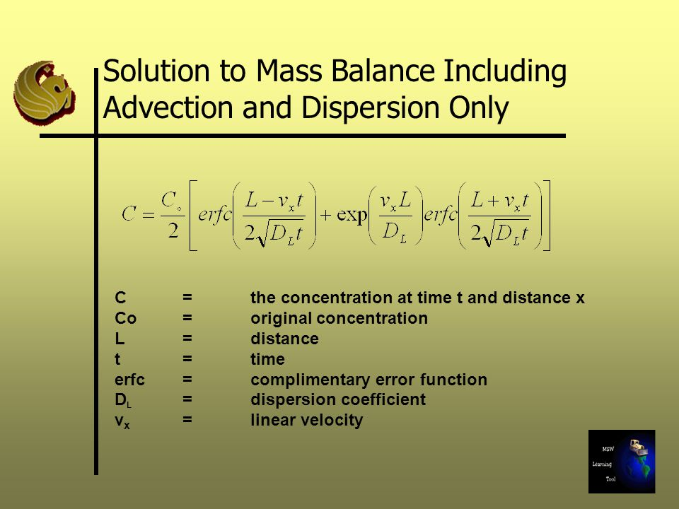 Solution to Mass Balance Including Advection and Dispersion Only