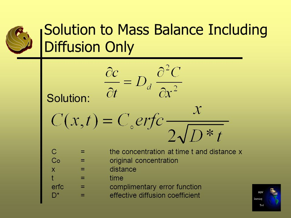 Solution to Mass Balance Including Diffusion Only