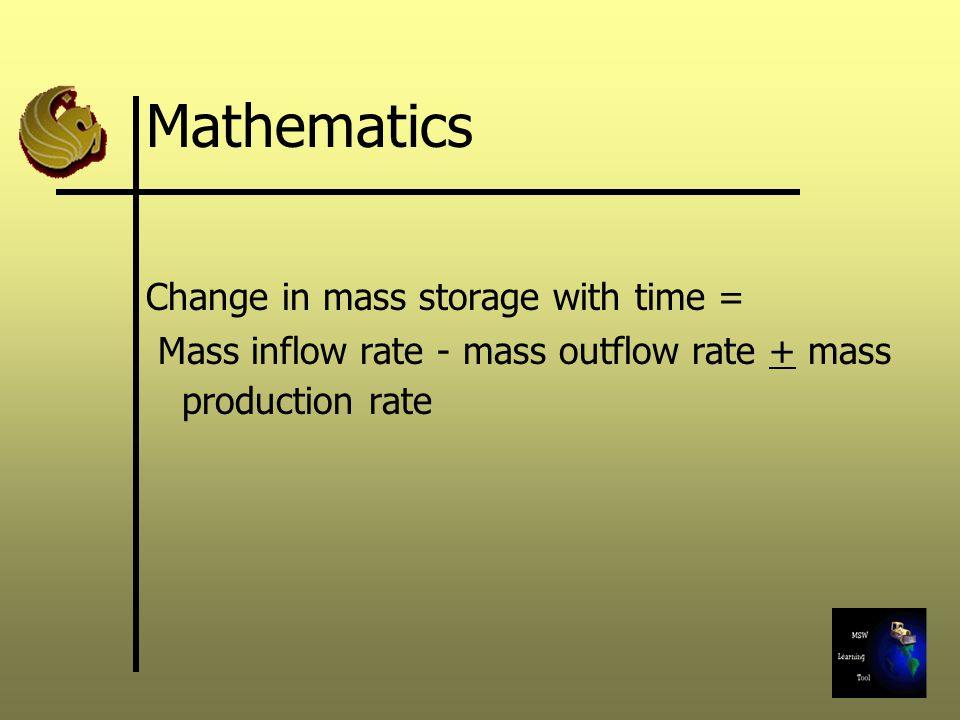 Mathematics Change in mass storage with time =