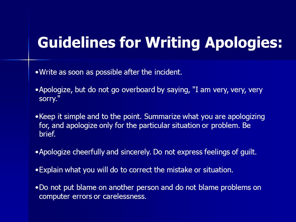 Guidelines for Writing Apologies: