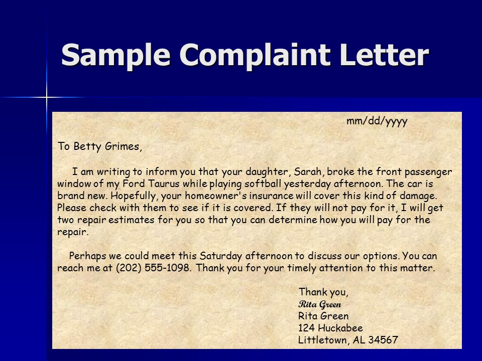 Letter writing reading and thoughtfully corresponding ppt video sample complaint letter spiritdancerdesigns Gallery
