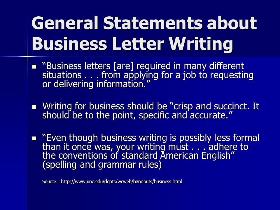 General Statements about Business Letter Writing