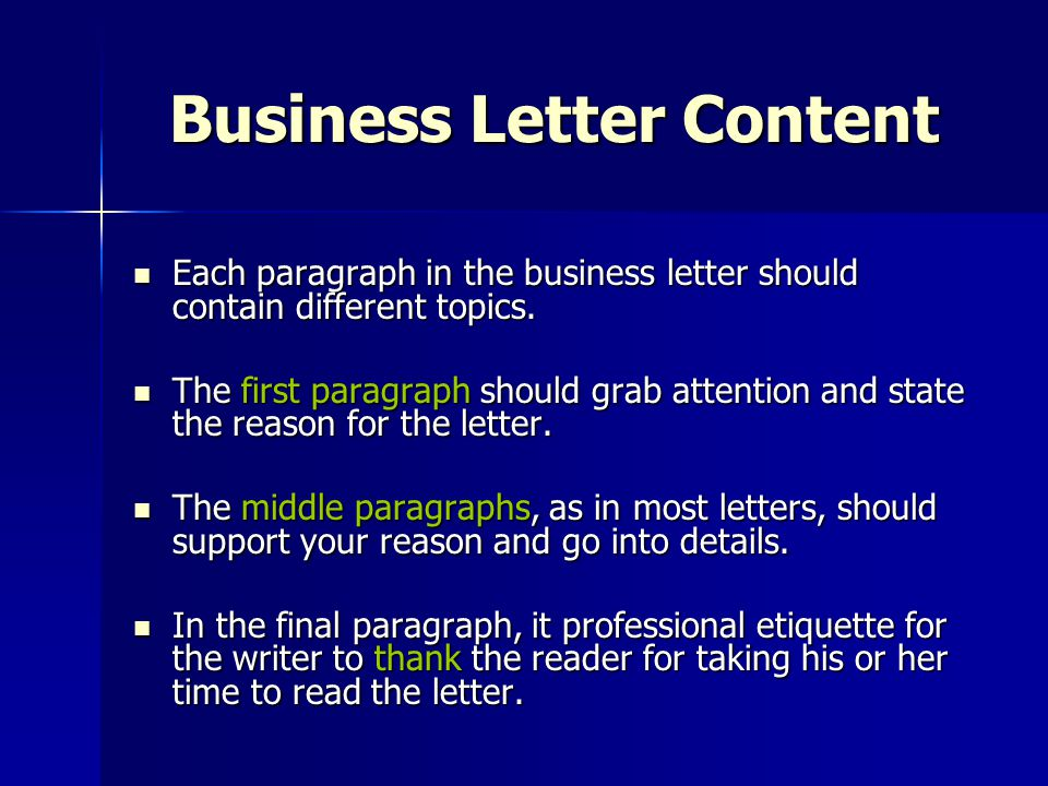 Business Letter Content