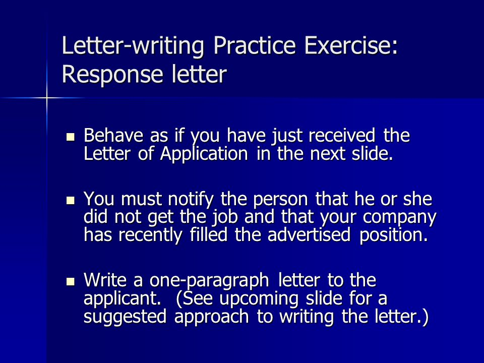 Letter-writing Practice Exercise: Response letter