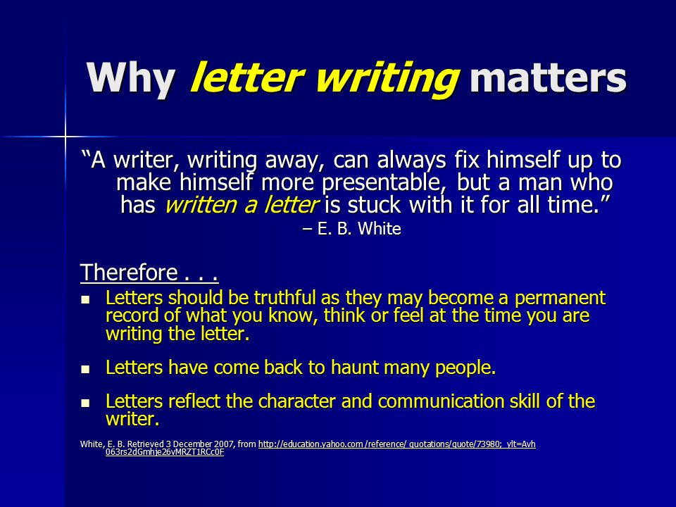 Why letter writing matters