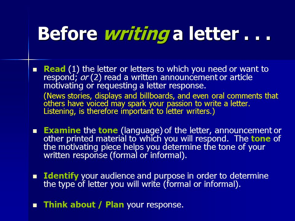 Before writing a letter . . .