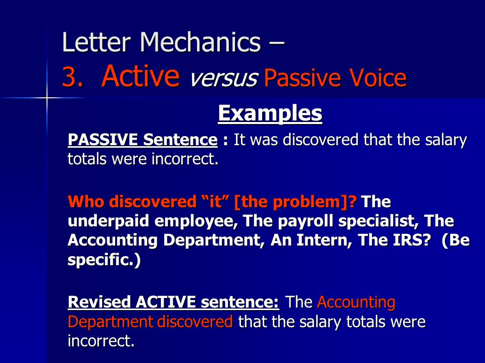 Letter Mechanics – 3. Active versus Passive Voice