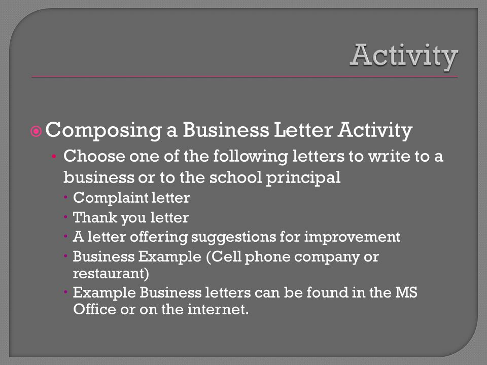 Activity Composing a Business Letter Activity