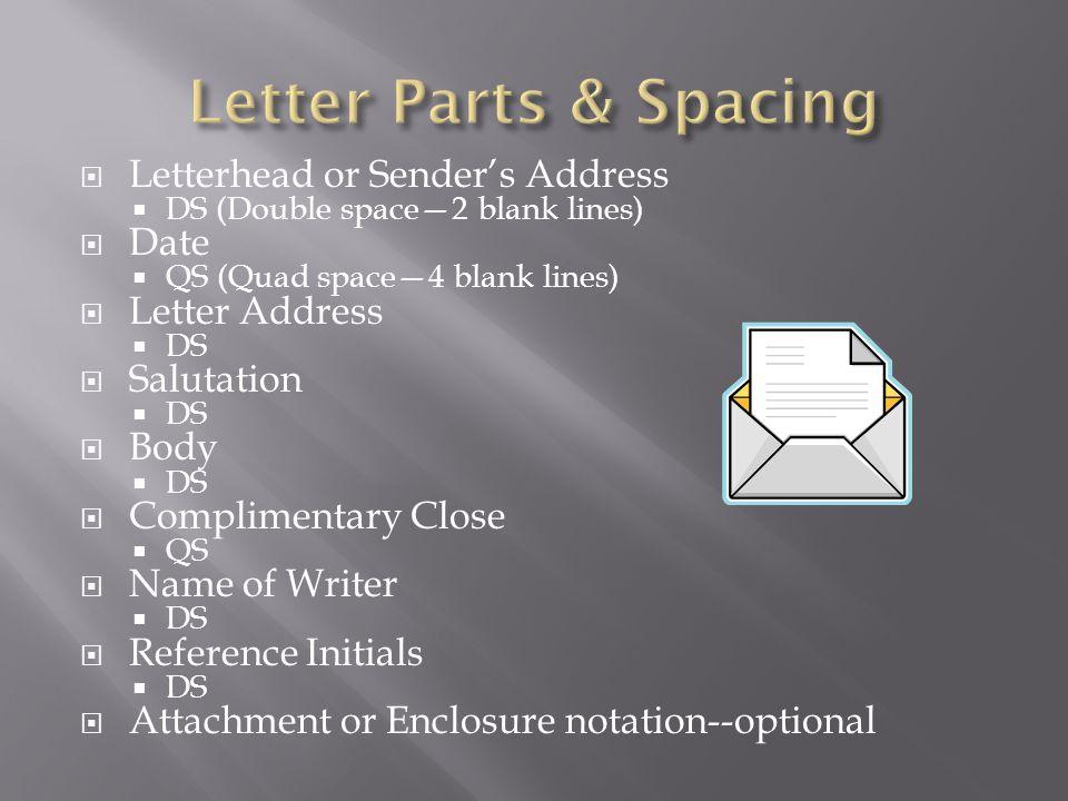 Letter Parts & Spacing Letterhead or Sender's Address Date