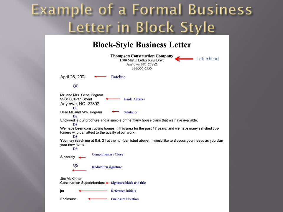 Example of a Formal Business Letter in Block Style