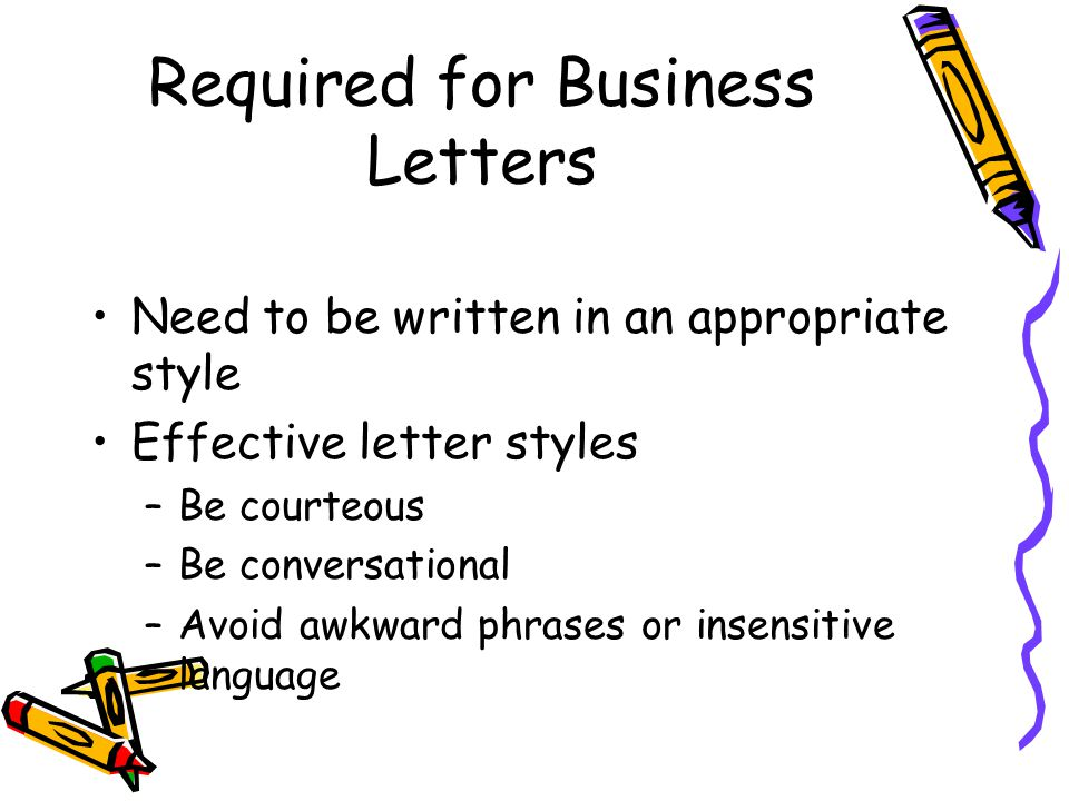 Required for Business Letters