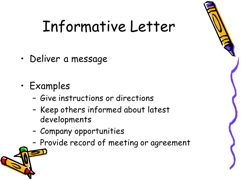 Informative Letter Deliver a message Examples