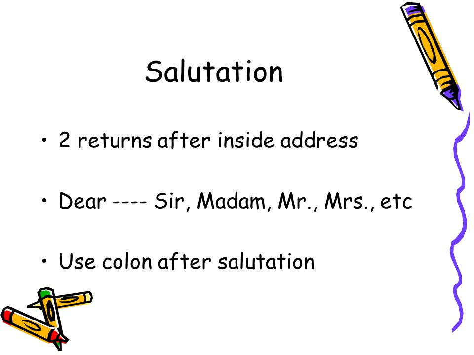 Salutation 2 returns after inside address