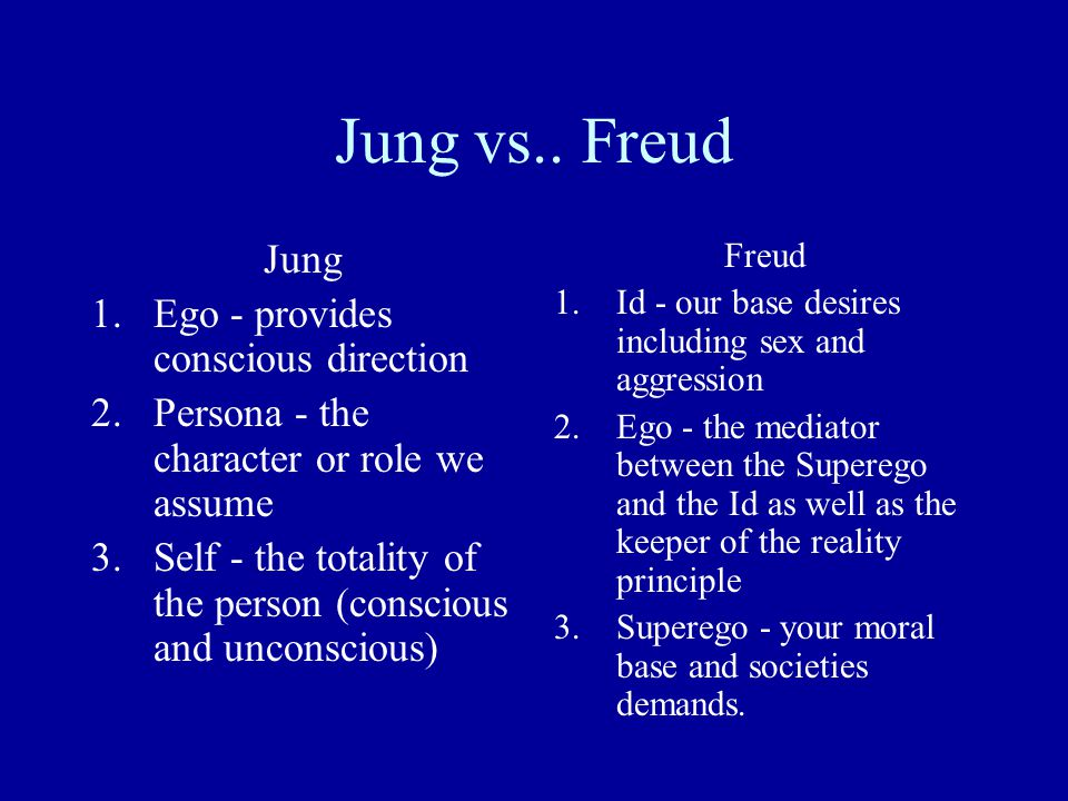 Jung vs.. Freud Jung Ego - provides conscious direction