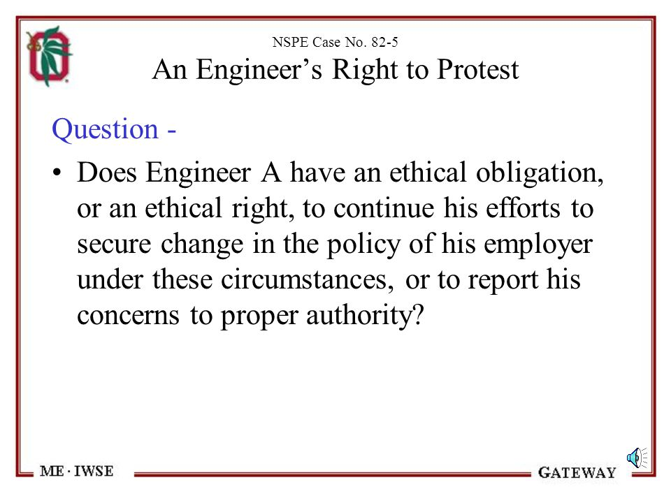 NSPE Case No. 82-5 An Engineer's Right to Protest