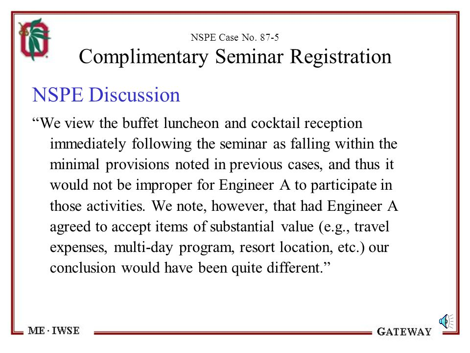 NSPE Case No. 87-5 Complimentary Seminar Registration