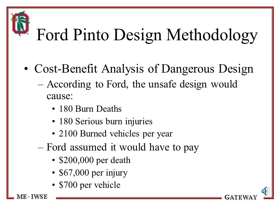 Ford Pinto Design Methodology