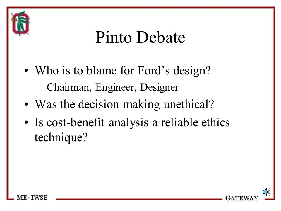 Pinto Debate Who is to blame for Ford's design