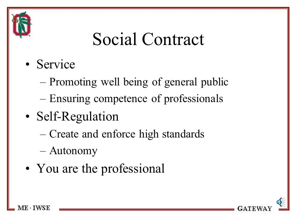 Social Contract Service Self-Regulation You are the professional