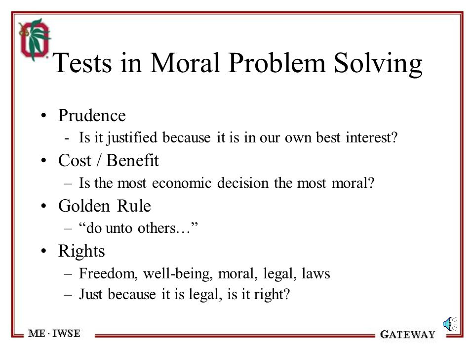 Tests in Moral Problem Solving