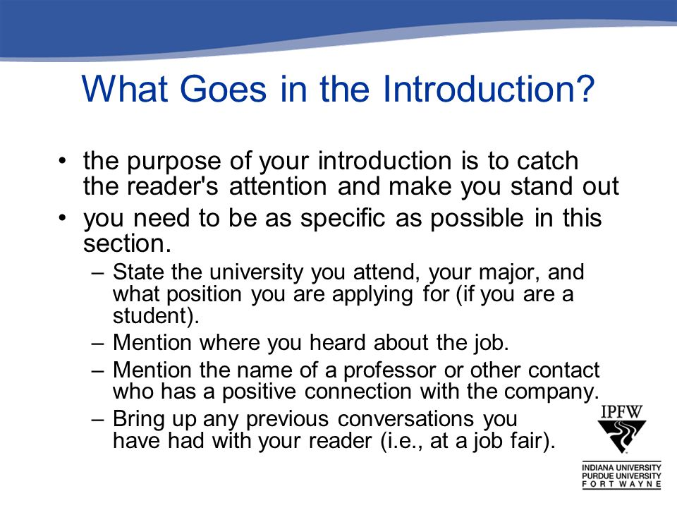 What Goes in the Introduction