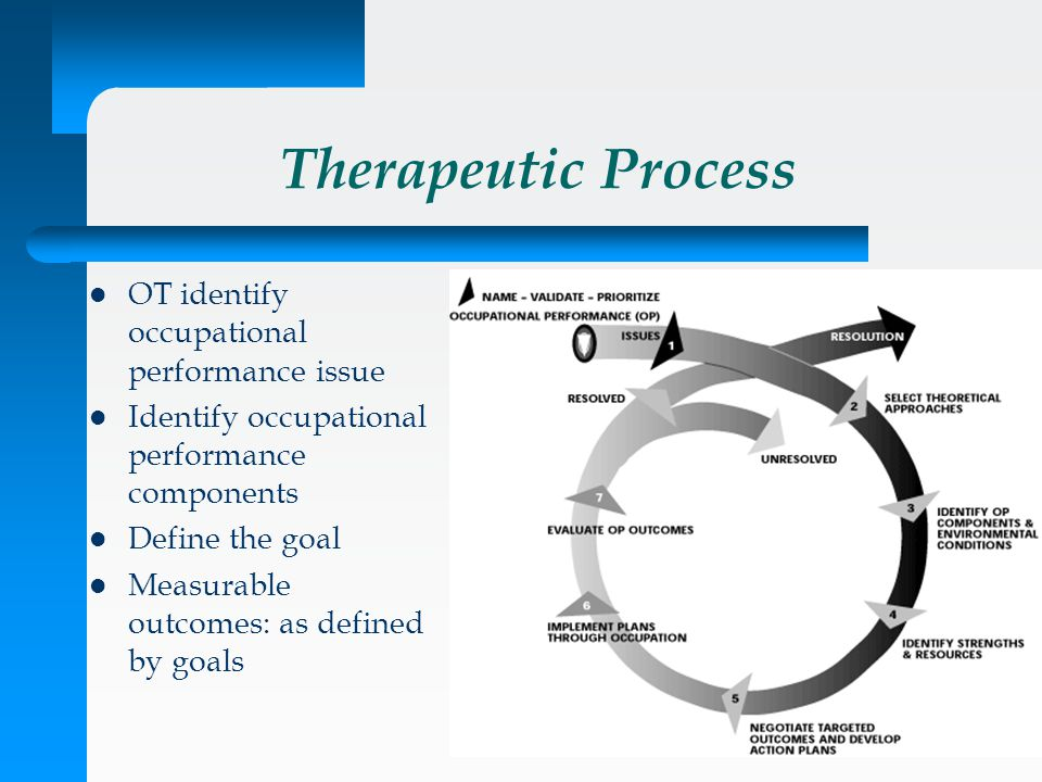 Therapeutic Process OT identify occupational performance issue