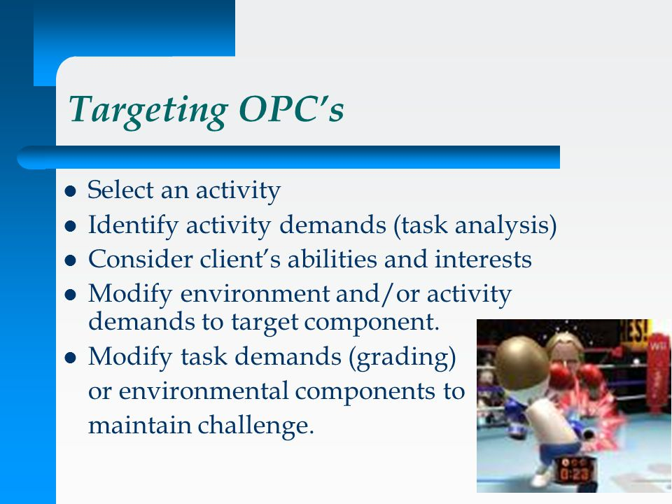 Targeting OPC's Select an activity