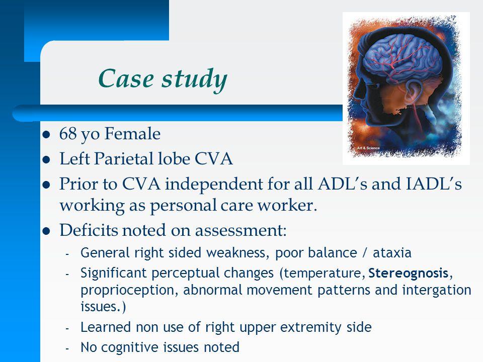 Case study 68 yo Female Left Parietal lobe CVA