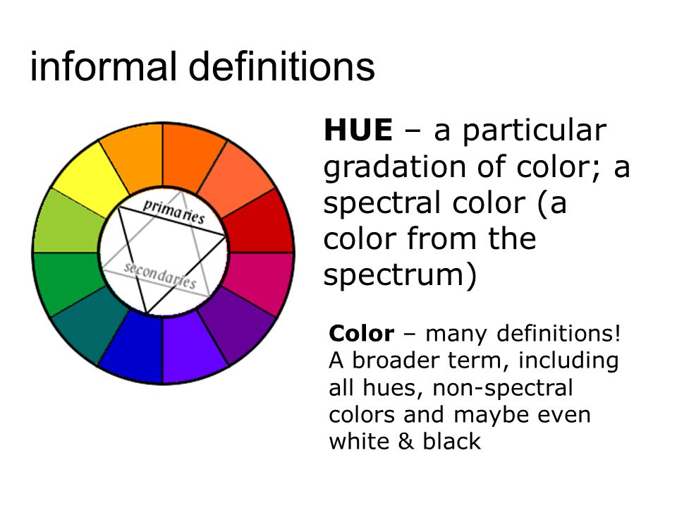 informal definitions HUE – a particular gradation of color; a spectral color (a color from the spectrum)