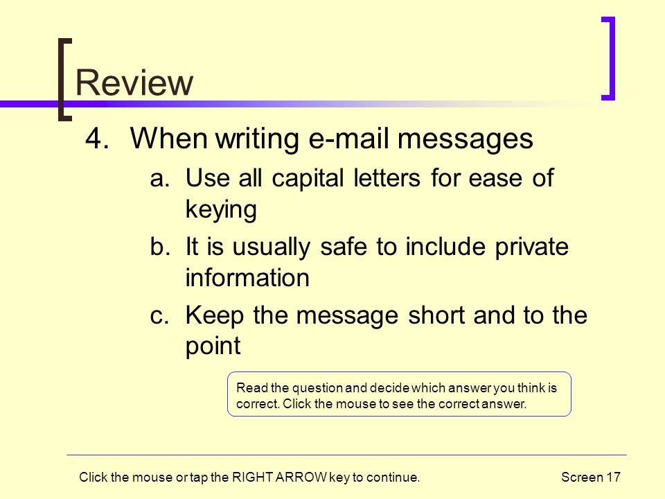 Review When writing e-mail messages