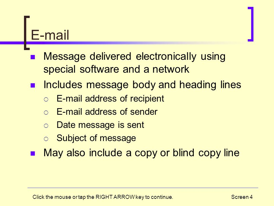 E-mail Message delivered electronically using special software and a network. Includes message body and heading lines.