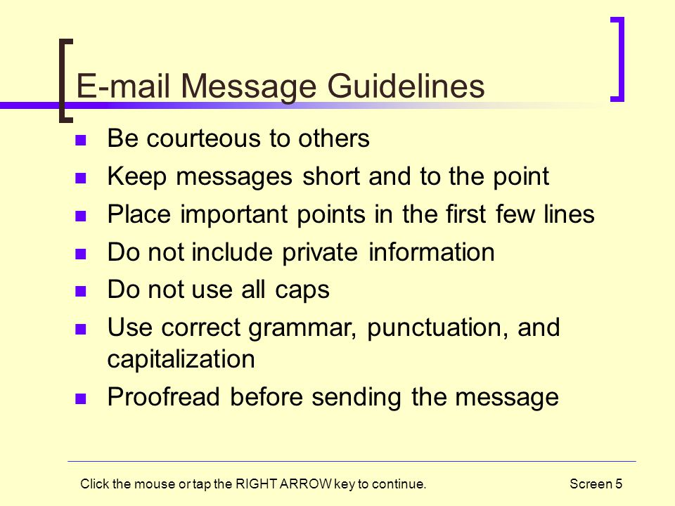 E-mail Message Guidelines